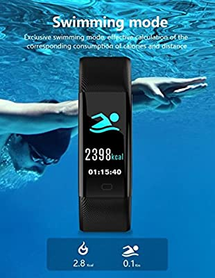 Mulk HD COLOR FITNESS Tracker - Swimming, Biking, Running, Heart Rate, Blood Pressure, Blood Oxygen Bluetooth Activity Tracker Sleep Monitor, Step Counter, Calorie burn waterproof for all Ages