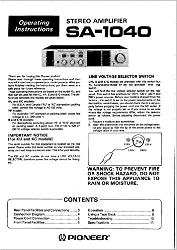 pioneer sa 1040 amplifier owners instruction manual amazon com books