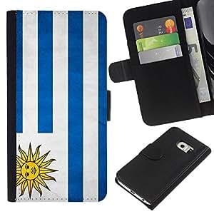 EJOY---La carpeta del tirón la caja de cuero de alta calidad de la PU Caso protector / Samsung Galaxy S6 EDGE / --Nacional bandera de la nación País Uruguay