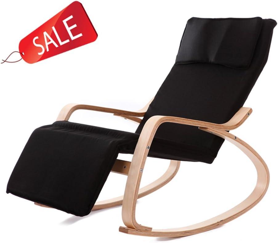Chi Cheng Fang Electronic business Cómoda Silla Mecedora reclinable Sillón reclinable Sillón Relax Silla (Color : Black)