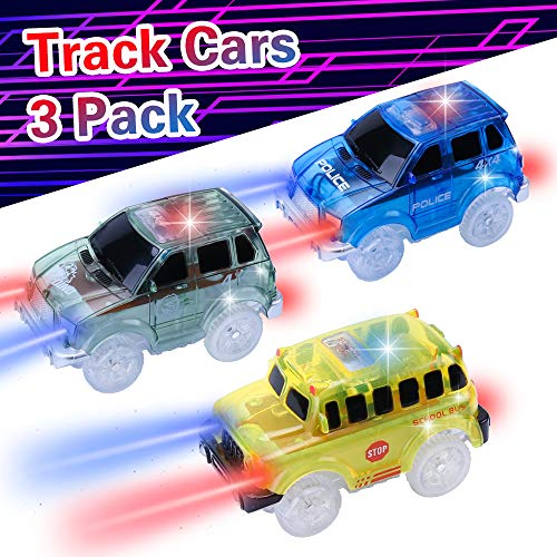 3 Pack Replacment Car, Electric Car Toys, Blue Police Car, Army Green Dino Car, Yellow School Bus with LED Lights, Compatible with Most Racing Tracks, 3 4 5 6 Year Old Boy Toys,Toddler, Kids Gift