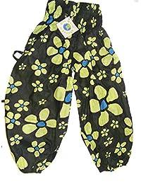 Fair Trade Childrens Unisex Green Daisy Print Japani Harem Style Trousers