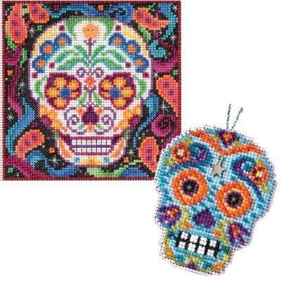 - 2 Item Skull Cross Stitch Kit Bundle: 1 Buttons and Bead Counted Cross Stitch and 1 Counted Glass Beads Kit