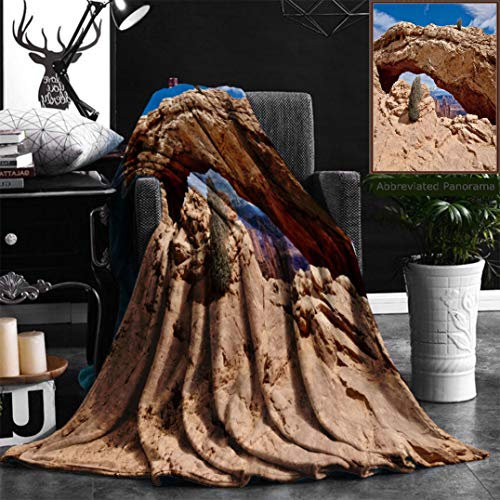 Unique Custom Flannel Blankets Natural Sandstone Arch Panoramic View Mesa Arch Canyonlands National Park Moab Cedar City Super Soft Blanketry for Bed Couch, Twin Size 60