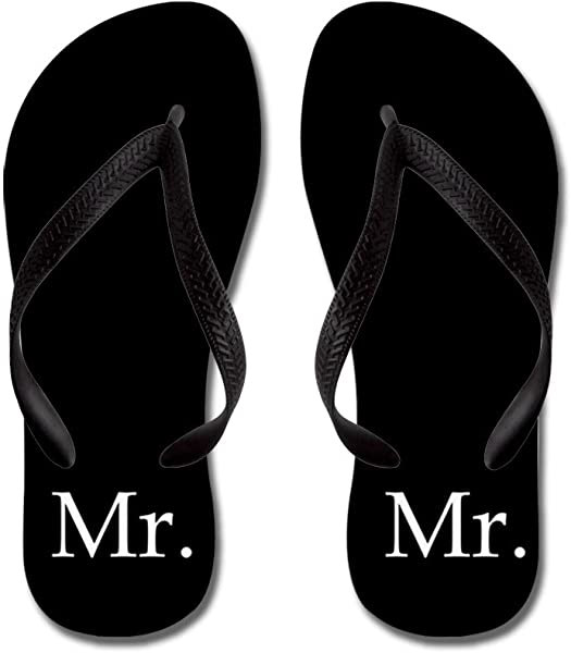 ab4fd2e5e79da5 CafePress - Black Mr and Mrs Flip Flops - for Him - Flip Flops