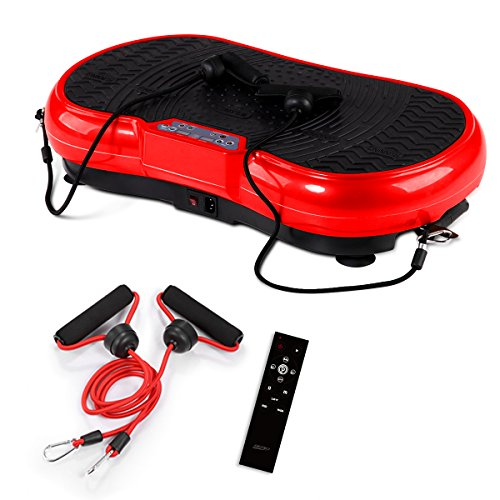 GENKI YD-1008R Vibration Machine Plate Platform Whole Body Shaper Trainer Exercise Red