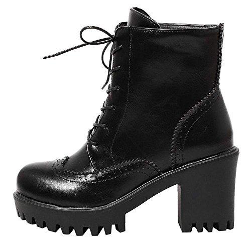 YE Chaussure Bottine Femme Lacet Talon Haut Botte Plateforme Hiver Noir VTgjI