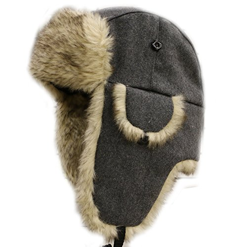 City Hunter W300 Wool Premium Solid Trapper Hats Gray