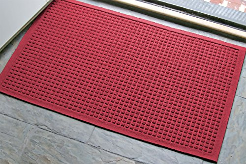 - WaterHog Fashion Commercial-Grade Entrance Mat, Indoor/Outdoor Charcoal Floor Mat 3' Length x 2' Width, Red/Black by M+A Matting