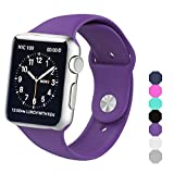 Sxciw Apple Watch Band, Soft Silicone Sports Replacement Wristband for Apple Watch (purple, 38mm-S/M)