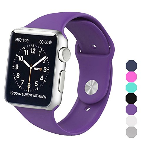 Sxciw Apple Watch Band  Soft Silicone Sports Replacement Wristband For Apple Watch  Purple  42Mm S M