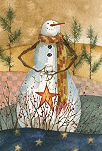 "Toland Home Garden 1010497 ""Americana Snowman Snowmen/Patriotic"" Decorative House Flag, 28"" X 40"""