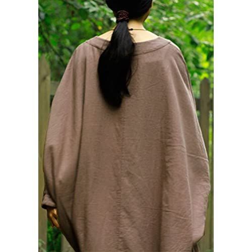 d266f3e5c3 Soojun Women s Natural Cotton Linen Oversized Dresses with Batwing Sleeve  30%OFF