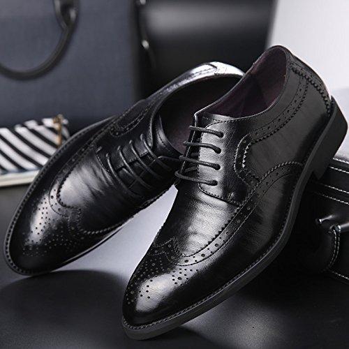 Chaussures Soled Chaussures Cuir Formel La Oxford Partie à Main en en Classique Pointus Lacets Cuir Black Mode Hommes 8qwaqEU