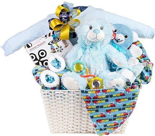 Newborn Baby Boy Gift Basket with Onesie, Blanket and Slippe