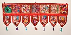 ANJANIYA Indian Cotton Bohemian Ethnic Vintage Patchwork Door Topper Valances Window Valances Wall Hanging Boho Home Decor Hand Embroidered Toran Hippie Living Room Decor (38x13 inch)