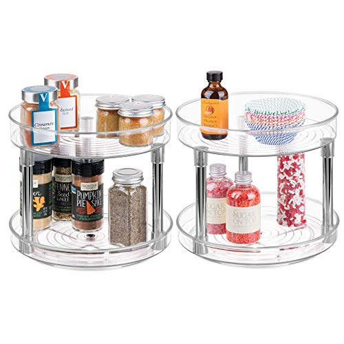 (mDesign 2 Level Lazy Susan Turntable Food Storage Container for Cabinets, Pantry, Refrigerator, Countertops, BPA Free - Spinning Organizer for Spices, Condiments - 9