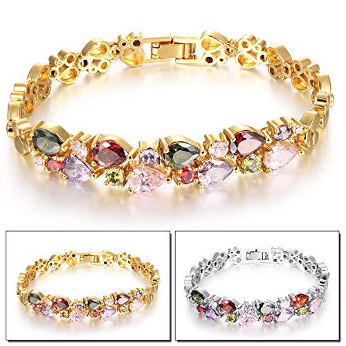 SOVSEFD Women Bracelets 18K Gold Plated Birthstone Crystal Elegant Multi-Gemstone and Diamond Cubic Zirconia Tennis Bracelet for Women Girls Ladies (Style #9)