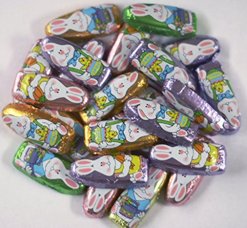 Scott's Cakes Foil Wrapped Solid Milk Chocolate Mini Funny Bunnies in a 1 Pound Clear Cello Bag