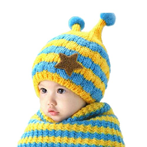 Blue Flower Plain Dinnerware (Lookatool Cute Winter Baby Wool Hat Hooded Scarf Earflap Knit Cap Toddler (Sky Blue))
