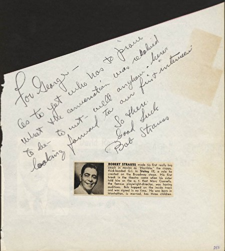 Robert Strauss – Autograph Note Signed co-signed By: Jeri Southern