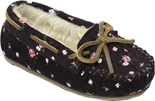 Minnetonka Girls Floral Corduroy Cassie Slipper, Raisin Floral, Size 13 M US Little Kid (Infant Raisin Girl)