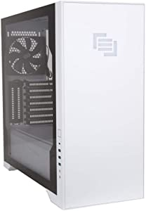 MAINGEAR Vybe RGB Tempered Glass ATX Mid-Tower Gaming Computer Case - Liquid Cooling Ready - White