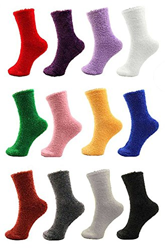 12 Pairs Assorted Super Soft Warm Microfiber Cozy Home Socks- Multicolor Pack, Size 4-10
