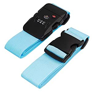 BlueCosto Luggage Strap TSA Approved Combination Lock Adjustable Suitcase Straps Travel Belt - Blue