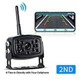 Wireless 2nd Updated Phone Backup Camera Reversing Camera Trucks RV Trailers Campers WiFi App Backup Camera Waterproof Rearview Camera Works Smartphone, Tablet Android ...
