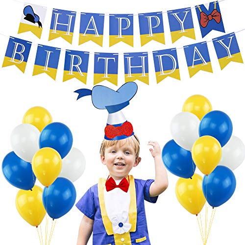 Donald Duck Happy Birthday Banner Party Decorations Set, Donald Duck Bunting Banner Bow Tie Hat Latex Balloons for Baby Shower Photo Props Kids Birthday Party Supplies