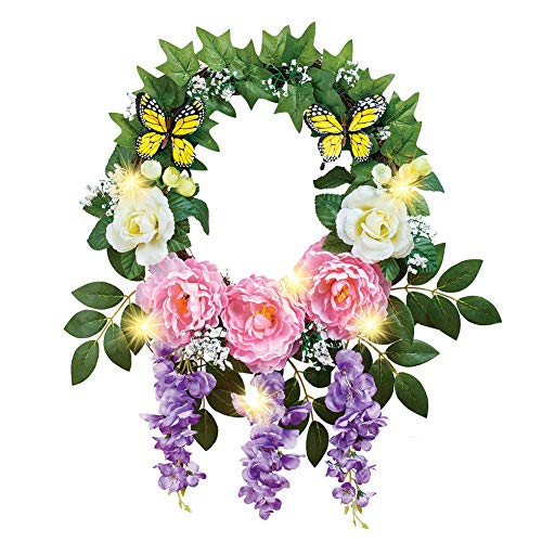 (Collections Etc Lighted Floral Wreath with Peonies, Roses, Cascading Wisteria, and Butterflies - Spring Décor for Home or Outdoor Accent)