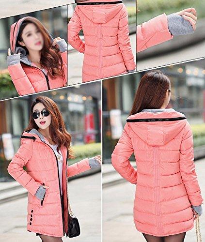 Manches Manteau Parka Longues d'hiver Mi Casual Long Femme Capuche Veste Manteau Pink gB4wSqzx