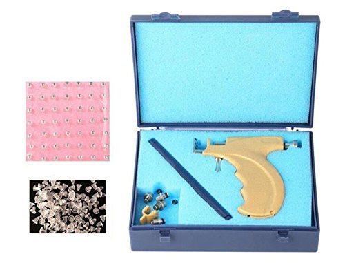 1 Set Professional Steel Safety Ear Body Lips Nose Navel Body Piercing Gun Safety Pierce Tool Beauty Kit with 108 Steel Ear Studs Set Asepsis Pen and Storage Case