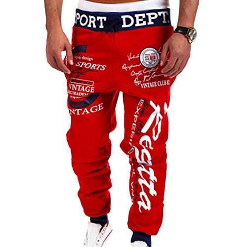 Men's Letter Printed Sport Sweat Pants Jogging Jogger Trousers Tracksuit Bottoms (XL, Red + Black Waist)
