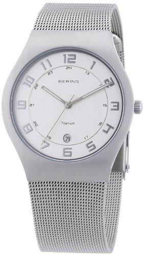BERING Time 11937-000 Mens Titanium Collection Watch with Mesh Band and Scratch Resistant Sapphire Crystal. Designed in Denmark. - Watch Mesh Titanium