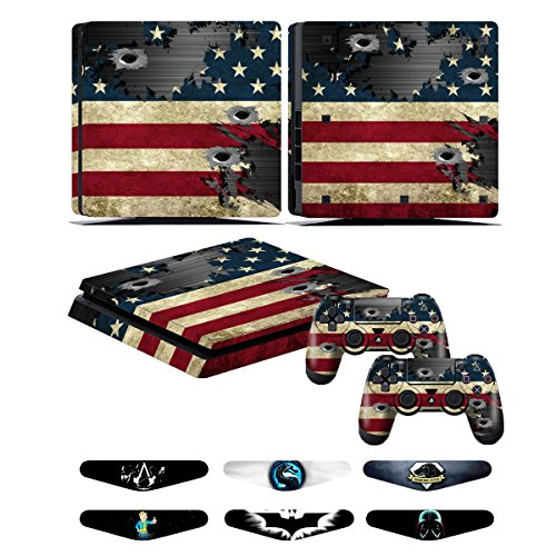 Skins for PS4 slim Controller - Decals for Playstation 4 slim Games - Stickers Cover for PS4 slim Console Sony Playstation Four Accessories with Dualshock 4 Two Controllers Skin - Battle Torn Strips