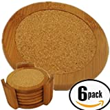Bamboo Coasters For Drinks With Cork Absorbent Zone, Set of 6 In Deluxe Holder - Totally Natural Fiber Gentle to All Surface Types