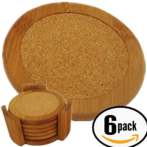 Bamboo Coasters For Drinks With Cork