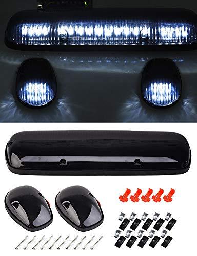 3Pcs Smoke Cover Lens Amber Cab Marker Roof Running White LED Light for 2002 2003 2004 2005 2006 2007 Chevrolet Silverado GMC Sierra 1500 1500HD 2500 2500HD 3500 Trucks