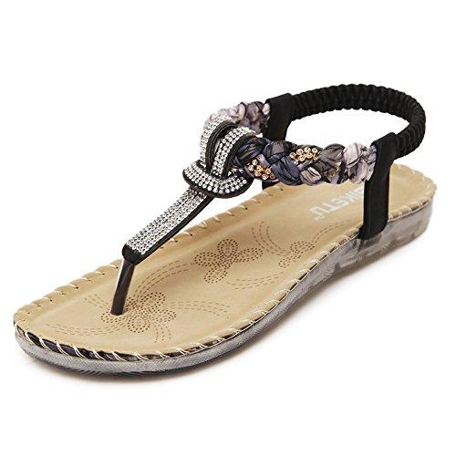 Temofon Women's Sandals Bohemian Beach Sandal Flats Beaded Rhinestone T-Strap Summer Flip Flop Shoes Black 8 (Beaded Beach Sandals)