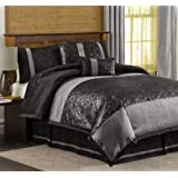 Triangle Home Fashions Lush Decor Metallic Animal 6-Piece Comforter Set, California King, Black/Silver