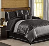 Lush Decor Metallic Animal 6-Piece Queen Comforter Set, Black/Silver