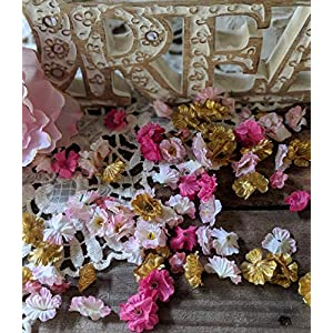 Baby Shower Table Decorations, Birthday Party decorations, Flower Confetti, Pink and Gold Party Decorations 9