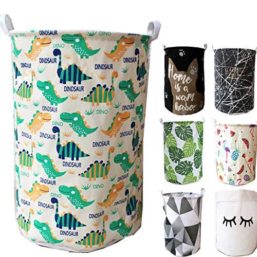 Unibedding Large Laundry Hamper Storage Basket with Handles Canvas Lightweight Bins for Kids Baby Toys,Nursery Storage,Baby Hamper(Blue Dinosaur)