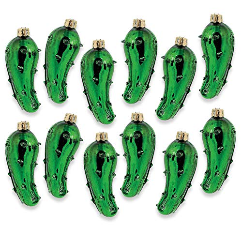 Fun Express 12 Count Blown Glass Pickle Christmas Tree Ornaments for Good Luck, Holiday Stocking Stuffer (Tradition Pickle German)