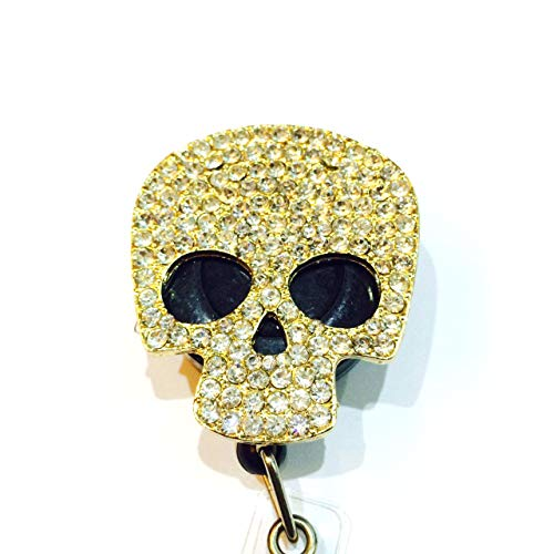 Bling Rhinestone Decorated Retractable Badge Reel ID Holder with Clip Backing - Floral Sugar Skull