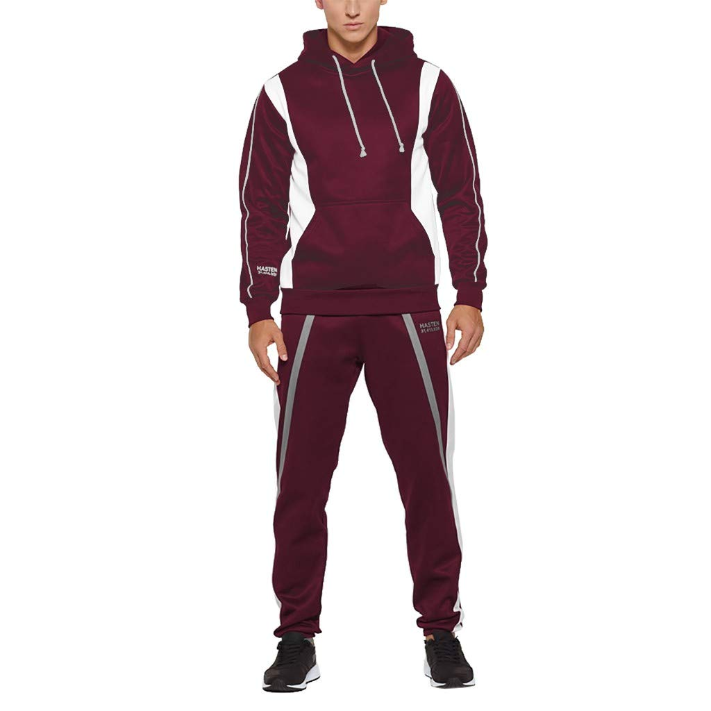 Mens 2 Piece Tracksuit Set Slim Fit Hoodie Color Block Pullover Hooded Sweatshirt Joggers Pants Set Casual Workout Running Sweatsuit Activewear by Armfre Two-Piece-Outfit