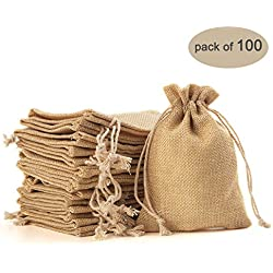 Yuxier 100piece Burlap Bags with Drawstring Gift Bags for Wedding Party ,Arts & Crafts Projects, Presents, Snacks & Jewelry,Christmas(5.3*3.7inch) (Flaxen)