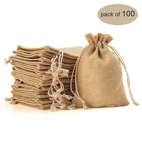 Yuxier 100piece Burlap Bags with Drawstring Gift Bags for Wedding Party ,Arts & Crafts Projects, Presents, Snacks & Jewelry,Christmas(5.3*3.7inch) (Flaxen) by Yuxier